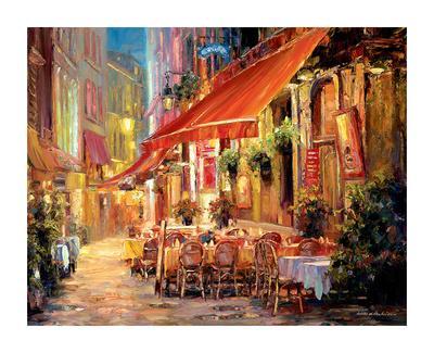 Café in Light-Haixia Liu-Framed Art Print