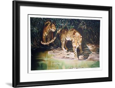 Leopards out of Shadows-Sydney Taylor-Framed Limited Edition