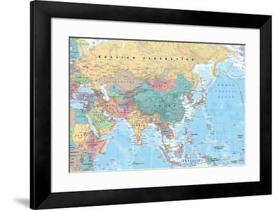 Middle East and Asia map--Framed Poster