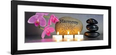 Japanese Zen Garden with Stone of Harmony and Candle Lights--Framed Art Print