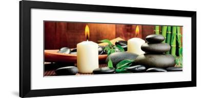 Zen Basalt Stones and Bamboo on the Wood--Framed Art Print