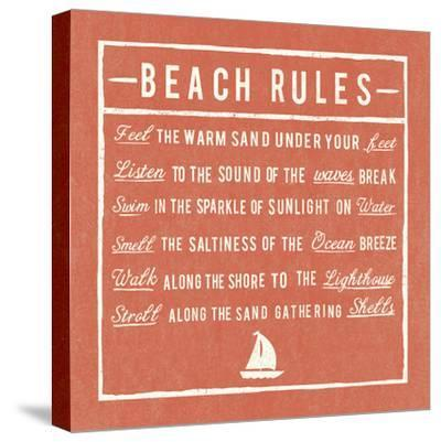 Beach Rules - Coral - Detail-The Vintage Collection-Stretched Canvas Print