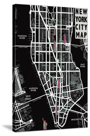 New York City Map-Tom Frazier-Stretched Canvas Print