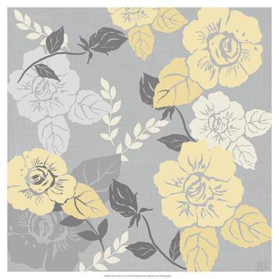 Yellow Roses on Grey II-Jade Reynolds-Framed Giclee Print