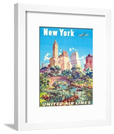 New York - United Air Lines - Gapstow Bridge at Central Park South Pond, Manhattan-Joseph Feher-Framed Giclee Print