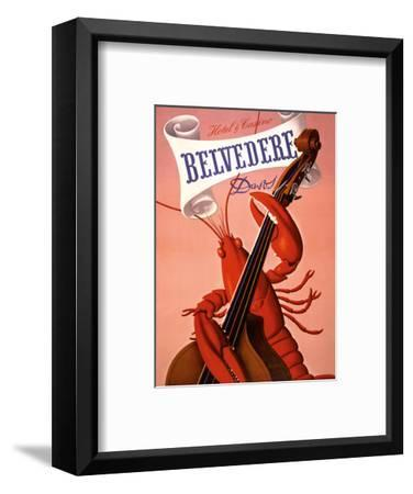 Davos, Switzerland - Grand Hotel & Casino Belvédère - Lobster Musician playing a Cello-Charles Kuhn-Framed Art Print