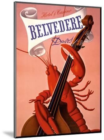 Davos, Switzerland - Grand Hotel & Casino Belvédère - Lobster Musician playing a Cello-Charles Kuhn-Mounted Art Print