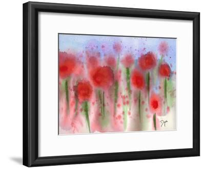 Red Wildflower Meadow-Beverly Dyer-Framed Art Print