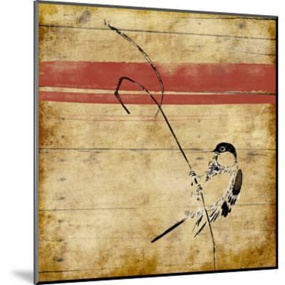 Wood Birds Stripe-Jace Grey-Mounted Art Print