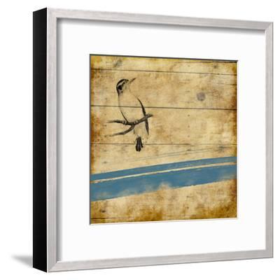 Wood Birds Stripe-Jace Grey-Framed Art Print