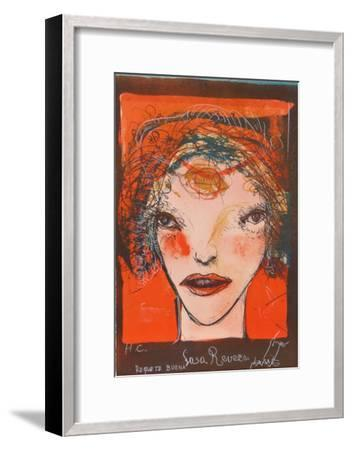 Portrait of a Woman with Red Cheeks-Leonel Gongora-Framed Limited Edition