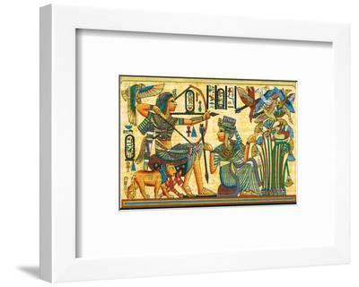 Tutankhamun Hunting Birds--Framed Art Print