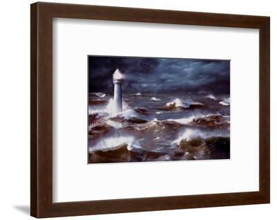 Lighthouse and Waves, South Africa--Framed Art Print
