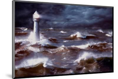Lighthouse and Waves, South Africa--Mounted Art Print