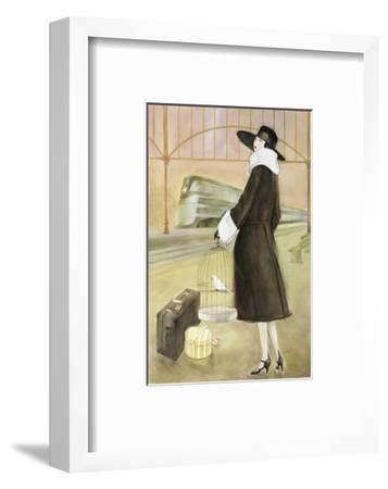 Lady at Train Station-Graham Reynold-Framed Art Print