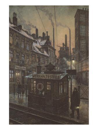 Workers Houses-Hans Baluschek-Framed Art Print