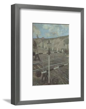 Railway Cycle: Boom Barrier-Hans Baluschek-Framed Art Print