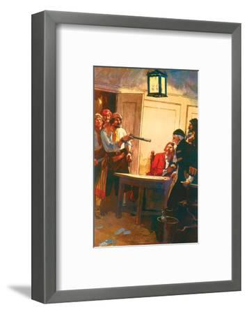 Pierre Le Grand Commanding The Spanish Captain to Surrender The Ship-George Alfred Williams-Framed Art Print