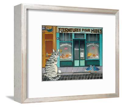Cat and Pigeons--Framed Art Print