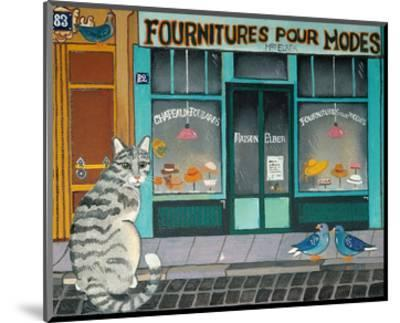 Cat and Pigeons--Mounted Art Print