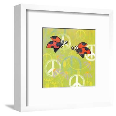 Peace Sign Ladybugs III-Alan Hopfensperger-Framed Art Print