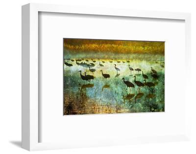 Cranes in Mist I-Chris Vest-Framed Art Print