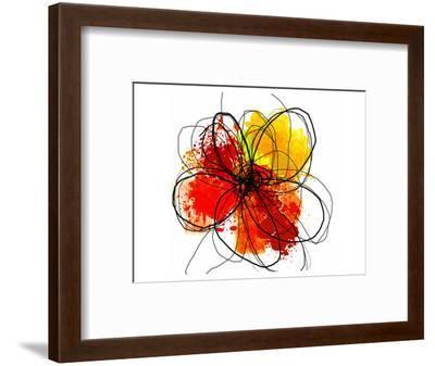 Red Abstract Brush Splash Flower II-Irena Orlov-Framed Art Print