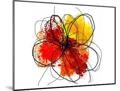 Red Abstract Brush Splash Flower II-Irena Orlov-Mounted Art Print
