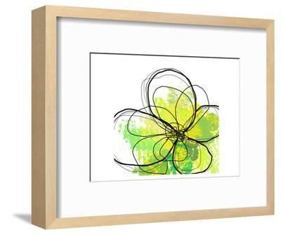 Green Abstract Brush Splash Flower-Irena Orlov-Framed Art Print