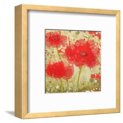 Abstract Red Poppy Trio-Irena Orlov-Framed Art Print