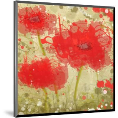 Abstract Red Poppy Trio-Irena Orlov-Mounted Art Print