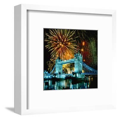 Fireworks above Tower Bridge, London, South England, Great Britain hph15--Framed Art Print