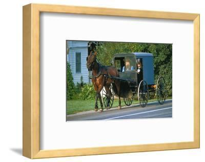 Amish in a carriage, Pennsylvania, USA--Framed Art Print