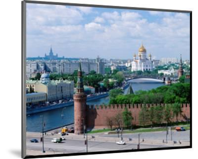 Cathedral of Christ the Saviour and Kremlin Wall, Moscow, Russia--Mounted Art Print
