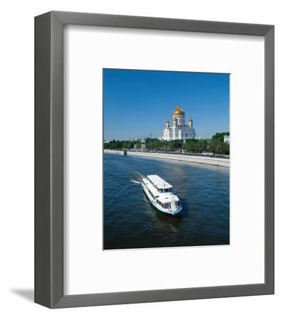 Cathedral of Christ the Saviour on the bank of Moskva River, Moscow, Russia--Framed Art Print