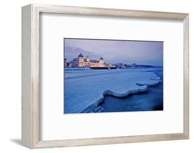 Beach and Kurhaus, Spa House, Seaside Resort of Binz, Island of Ruegen, Germany--Framed Art Print
