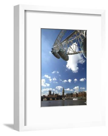 The London Eye, Big Ben and Houses of Parliament, London, England, United Kingdom of Great Britain--Framed Art Print