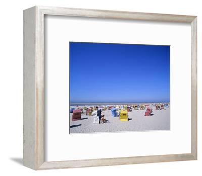 Beach chairs on Nordstrand, Langeoog, East Frisian Islands, Lower Saxony, Germany--Framed Art Print