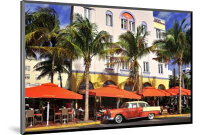 Classic Car in front of the Paparazzi Restaurant, Ocean Drive--Mounted Art Print