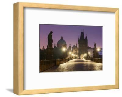 Charles Bridge and Old Town Bridge Tower in Prague, Central Bohemia, Czech Republic--Framed Art Print
