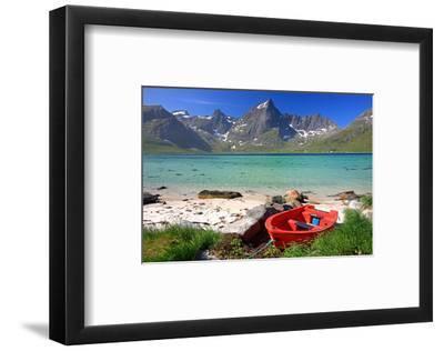 Beach at Flakstadpollen, Flakstadoya Island, Lofoten Islands, Norway--Framed Art Print