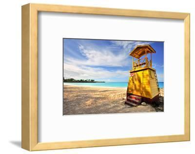 Lifeguard Station on the Beach between Miami Beach and Enterprise Beach in Oistins--Framed Art Print