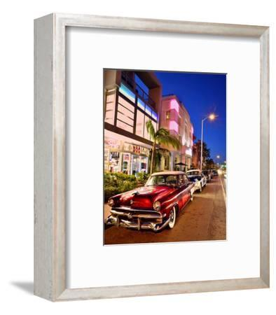 Dodge Classic Car on Collins Avenue, Miami Beach in Miami, Florida, USA--Framed Art Print