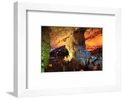 In the Cave of Awe Hang Sung Sot Grotto in Ha Long Bay, North Vietnam, Quang Ninh, Vietnam--Framed Art Print