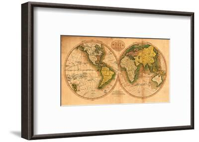 A Map of the World from the Best Authorities - The Track of Captain Cook--Framed Art Print