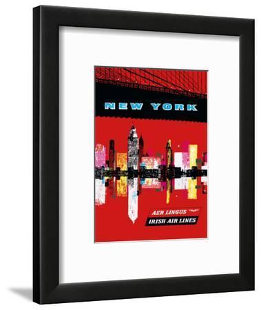 New York, USA Aer Lingus Irish Air Lines - Manhattan Skyline--Framed Art Print