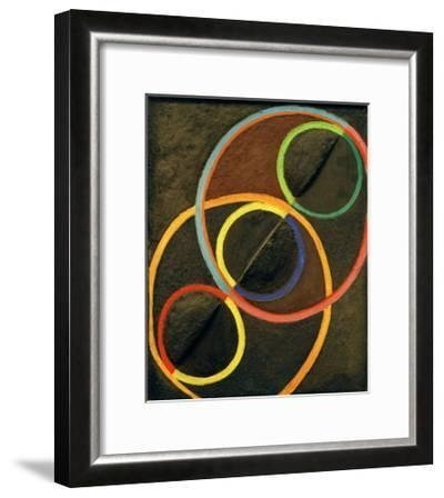 Black Relief with Colour Circles, 1930/32-Robert Delaunay-Framed Giclee Print