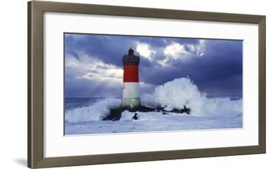 Phare des Pierres-noires lors d'une Tempete-Jean Guichard-Framed Art Print