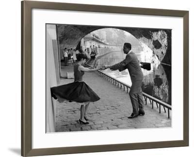 Rock 'n' Roll Dancers on Quays of Paris, River Seine, 1950s-Paul Almasy-Framed Giclee Print