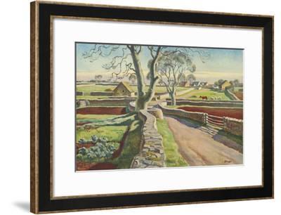 Cotswold Crossroads-Adrian Allinson-Framed Premium Giclee Print